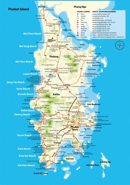 Карта Пхукета с отелями, карта острова Пукет с пляжами, карта Пхукета на русском языке